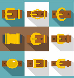 man buckle icons set flat style vector image