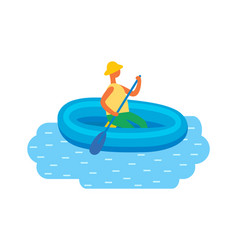 man in hat swimming on inflatable rubber boat vector image