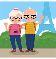 Mature couple travels to Paris vector image