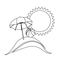 monochrome contour with beach and umbrella and vector image