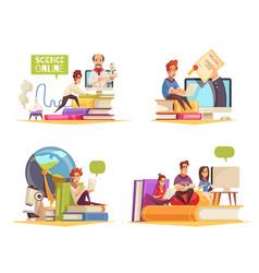 Online courses cartoon cocept vector