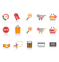 orange red color series shopping icons set vector image