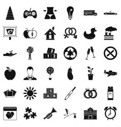 Ordinance icons set simple style vector