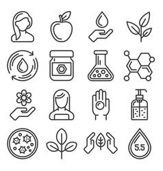 Organic cosmetics icons set on white background vector