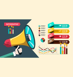 paper infographic design with megaphone and vector image