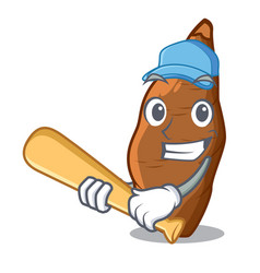 Playing baseball character cassava in the market vector