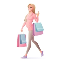 pregnant woman walking with shopping bags vector image