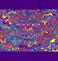 psychedelic colorful eyes and waves fantastic art vector image
