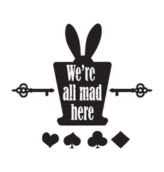 Quote with top hat ear rabbit key vector