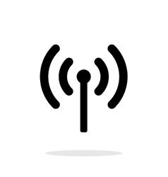 Radio antenna sending signal icon on white vector image