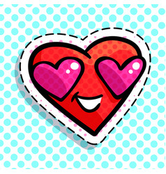 red smiling heart vector image