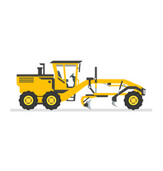 Road grader flat design heavy equipment vector