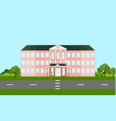 School building facade in summer time vector