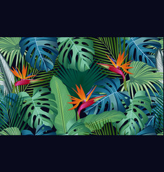 Seamless pattern tropical leaves with bird of vector