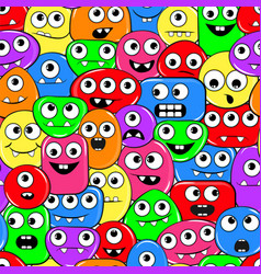 seamless texture with funny motley monsters vector image