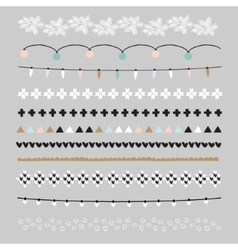 Set christmas borders and brushes party vector