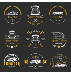 Set of vintage badges car club and garage vector image