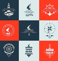 Set of yacht club logo collection vector