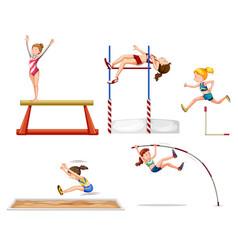 set sport athletes vector image