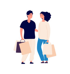 shopping time isolated flat man woman with eco vector image