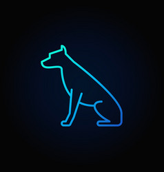 Sitting dog blue icon vector