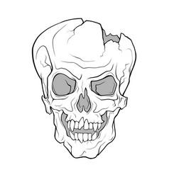 Skull a grinning vampire monochrome vector
