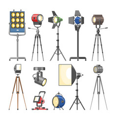 Spotlight light show studio with spot lamps vector