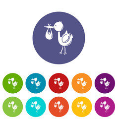 stork child icons set color vector image