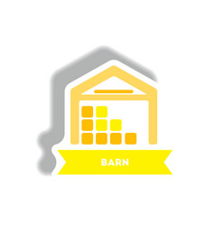 Stylish icon in paper sticker style building barn vector
