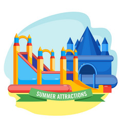 Summer park inflated attractions set colorful vector