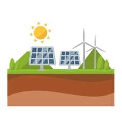 Sun solar energy panel and windmill power vector image