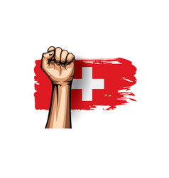 Switzerland flag and hand on white background vector