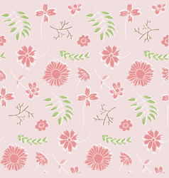 tender floral pattern with pink flowers and leaves vector image