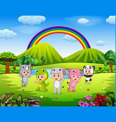 the children wearing animal costumes in outdoor vector image