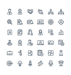 thin line icons set business and management vector image