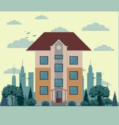 three-floor house facade tree street sky and vector image