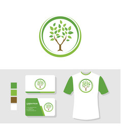 tree logo design with business card and t shirt vector image
