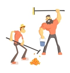 Two Man Picking Up Leaves vector