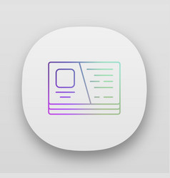 visiting cutaway business card app icon uiux user vector image