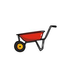 wheelbarrow cartoon icon vector image