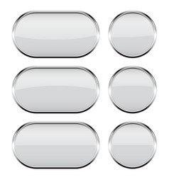 White glass buttons with chrome frame 3d icons vector