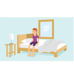 Young female wake up from sleep in the morning vector