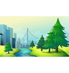 City buildings view with nature vector image vector image