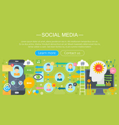 modern flat design social media concept social vector image vector image