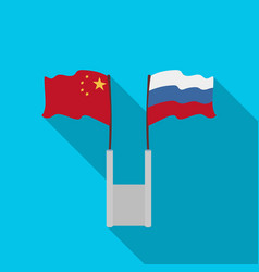 russia and china flags icon in flat style isolated vector image