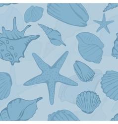 Seamless pattern of hand drawn seashells vector image