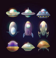 alien spaceship disk or astronaut rocket vector image vector image