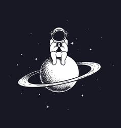 Astronaut keeps smartphone vector