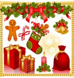 christmas set gifts vector image vector image