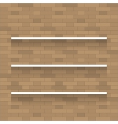 Empty wooden shelf for exhibit on brick wall vector image